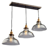 GREENWICH 3-LIGHT LINEAR PENDANT, Bronze and Copper, medium