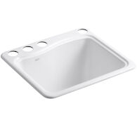 RIVER FALLS™ 25 X 22' X 14-15/16 INCHES UNDER-MOUNT UTILITY SINK WITH 4 FAUCET HOLES - 3-HOLES ON DECK ON THE LEFT AND RIGHT-HAND ACCESSORY HOLE, White, medium