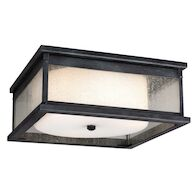 PEDIMENT 3-LIGHT OUTDOOR FLUSH MOUNT LIGHT, Dark Weathered Zinc, medium