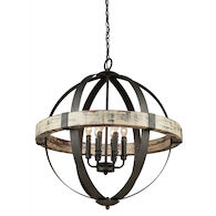 CASTELLO 6-LIGHT CHANDELIER, Distressed Wood and Black, medium