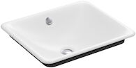 IRON PLAINS® WADING POOL® RECTANGULAR BATHROOM SINK WITH IRON BLACK PAINTED UNDERSIDE, White, medium