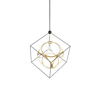 MONZA 3000K LED CHANDELIER, CH19234, Black and Antique Brass, large