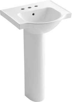 VEER™ 21-INCH PEDESTAL BATHROOM SINK WITH 4-INCH CENTERSET FAUCET HOLES, White, large
