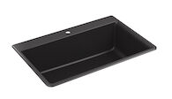 KENNON® 33 X 22 X 10-1/8 INCHES NEOROC® TOP-/UNDER-MOUNT SINGLE-BOWL KITCHEN SINK, Matte Black, medium