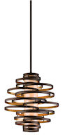 VERTIGO 2-LIGHT PENDANT, Bronze and Gold Leaf, medium