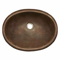 ROLLED BABY CLASSIC DROP IN BATHROOM SINK, CPS39, Antique Copper, medium
