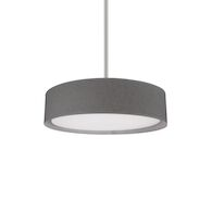 DALTON 16-INCH ROUND LED PENDANT LIGHT WITH COLOURED HAND TAILORED TEXTURED FABRIC SHADE, Grey, medium