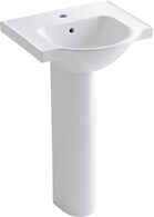 VEER™ 21-INCH PEDESTAL BATHROOM SINK WITH SINGLE FAUCET HOLE, White, medium