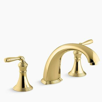 DEVONSHIRE® DECK-/RIM-MOUNT BATH FAUCET TRIM FOR HIGH-FLOW VALVE WITH 9-INCH NON-DIVERTER SPOUT AND LEVER HANDLES, Vibrant Polished Brass, large