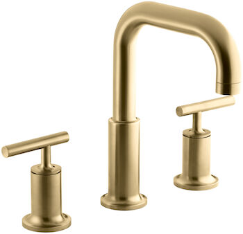 PURIST® DECK MOUNT BATH FAUCET TRIM FOR HIGH-FLOW VALVE WITH LEVER HANDLES, Vibrant Moderne Brushed Gold, large