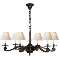 ALEXA HAMPTON MYRNA 6-LIGHT 33-INCH CHANDELIER WITH NATURAL PAPER SHADE, Gun Metal, medium