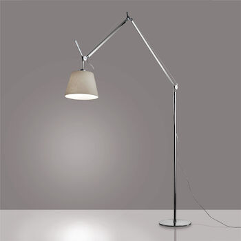 TOLOMEO MEGA LED FLOOR LAMP WITH 12-INCH DIFFUSER, Aluminum/Parchment, large