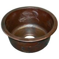 PINECONES ROUND BAR & PREP SINK, Antique Copper, medium