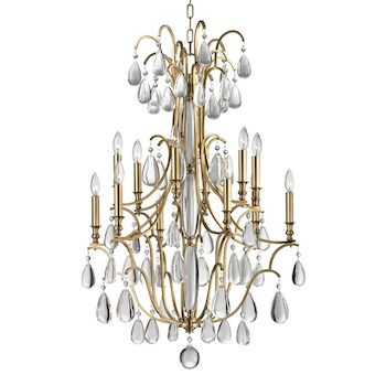 CRAWFORD 12-LIGHT CHANDELIER, 9329, Aged Brass, large