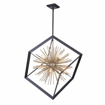 SUNBURST 8-LIGHT CHANDELIER, Matte Black and Satin Brass, large
