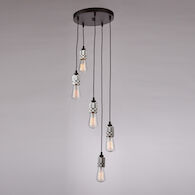 JERSEY 5-LIGHT CLUSTER PENDANT, Chrome, medium