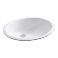 CAXTON® OVAL 17 X 14 INCHES UNDERMOUNT BATHROOM SINK WITH GLAZED UNDERSIDE AND CLAMP ASSEMBLY, White, medium