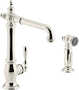 ARTIFACTS® 2-HOLE KITCHEN SINK FAUCET WITH 13-1/2-INCH SWING SPOUT AND MATCHING FINISH TWO-FUNCTION SIDESPRAY WITH SWEEP® AND BERRYSOFT® SPRAY, VICTORIAN SPOUT DESIGN, Vibrant Polished Nickel, small