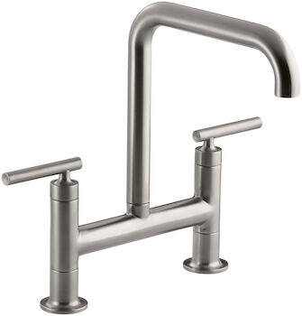 PURIST® TWO-HOLE DECK-MOUNT BRIDGE KITCHEN SINK FAUCET WITH 8-3/8-INCH SPOUT, Vibrant Stainless, large