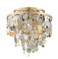 AMBROSIA 3-LIGHT FLUSH MOUNT, Gold Leaf, medium