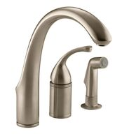 FORTÉ® 3-HOLE REMOTE VALVE KITCHEN SINK FAUCET WITH 9-INCH SPOUT AND MATCHING FINISH SIDESPRAY, Vibrant Brushed Bronze, medium