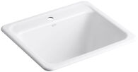 GLEN FALLS™ 25 X 22 X 13-5/8 INCHES TOP-/UNDER-MOUNT UTILITY SINK WITH SINGLE FAUCET HOLE, White, medium
