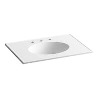 CERAMIC/IMPRESSIONS® 31-INCH OVAL VANITY-TOP BATHROOM SINK WITH 8-INCH WIDESPREAD FAUCET HOLES, White Impressions, medium