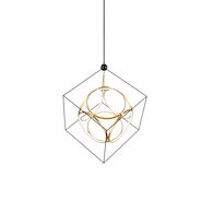 MONZA 3000K LED CHANDELIER, CH19234, Black and Antique Brass, medium