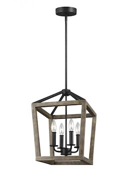 GANNET 4-LIGHT CHANDELIER, Weathered Oak, large