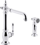 ARTIFACTS® 2-HOLE KITCHEN SINK FAUCET WITH 13-1/2-INCH SWING SPOUT AND MATCHING FINISH TWO-FUNCTION SIDESPRAY WITH SWEEP® AND BERRYSOFT® SPRAY, VICTORIAN SPOUT DESIGN, Polished Chrome, medium