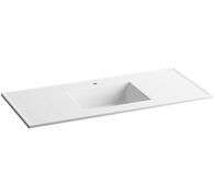 CERAMIC/IMPRESSIONS® 49-INCH RECTANGULAR VANITY-TOP BATHROOM SINK WITH SINGLE FAUCET HOLE, White Impressions, medium
