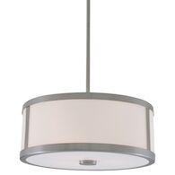 UPTOWN 3-LIGHT PENDANT WITH HALF OPAL GLASS, Satin Nickel, medium