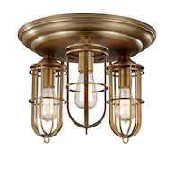 URBAN RENEWAL 3-LIGHT FLUSH MOUNT LIGHT, Dark Antique Brass, medium
