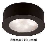 ROUND LEDme® BUTTON LIGHT 3000K WARM WHITE RECESSED OR SURFACE MOUNT, Black, medium