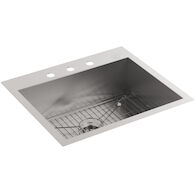 VAULT™ 25 X 22 X 9-5/16 INCHES TOP-/UNDER-MOUNT SINGLE-BOWL KITCHEN SINK WITH 3 FAUCET HOLES, Stainless Steel, medium