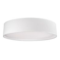 DALTON 20-INCH ROUND LED FLUSH MOUNT LIGHT WITH COLOURED HAND TAILORED TEXTURED FABRIC SHADE, White, medium