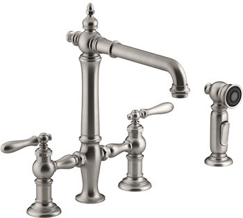 ARTIFACTS® DECK-MOUNT BRIDGE KITCHEN SINK FAUCET WITH LEVER HANDLES AND SIDESPRAY, Vibrant Stainless, large