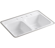 DELAFIELD® 32 X 21 X 8-1/2 INCHES TILE-IN/METAL FRAME DOUBLE-EQUAL KITCHEN SINK WITH 4 FAUCET HOLES, White, medium