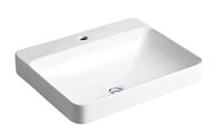 VOX® RECTANGLE VESSEL BATHROOM SINK WITH SINGLE FAUCET HOLE, White, medium