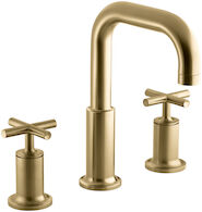 PURIST® DECK MOUNT BATH FAUCET TRIM FOR HIGH-FLOW VALVE WITH CROSS HANDLES, Vibrant Moderne Brushed Gold, medium