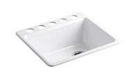 RIVERBY® 25 X 22 X 9-5/8 INCHES UNDER-MOUNT SINGLE-BOWL KITCHEN SINK WITH SINK RACK, White, medium