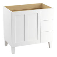 POPLIN® 36-INCH BATHROOM VANITY CABINET WITH LEGS, 1 DOOR AND 3 DRAWERS ON RIGHT, Linen White, medium