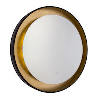 REFLECTIONS 31-INCH 3000K LED ROUND MIRROR, Oil Rubbed Bronze and Gold Leaf, medium