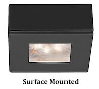 SQUARE LEDme® BUTTON LIGHT 2700K SOFT WHITE RECESSED OR SURFACE MOUNT, Black, medium