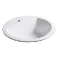 BRYANT® ROUND DROP IN BATHROOM SINK WITH SINGLE FAUCET HOLE, White, medium