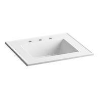 CERAMIC/IMPRESSIONS® 25-INCH RECTANGULAR VANITY-TOP BATHROOM SINK WITH 8-INCH WIDESPREAD FAUCET HOLES, White Impressions, medium