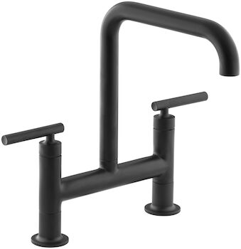 PURIST® TWO-HOLE DECK-MOUNT BRIDGE KITCHEN SINK FAUCET WITH 8-3/8-INCH SPOUT, Matte Black, large
