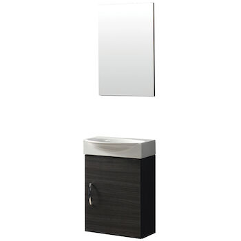BOX UNO WALL MOUNT VANITY WITH CERAMIC SINK AND MIRROR, 16101, White, large