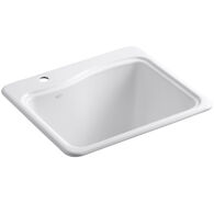 RIVER FALLS™ 25 X 22' X 14-15/16 INCHES TOP-MOUNT UTILITY SINK WITH SINGLE FAUCET HOLE ON DECK ON LEFT SIDE, White, medium