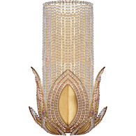 AERIN RENE 1-LIGHT 9-INCH WALL SCONCE LIGHT WITH CLEAR GLASS SHADE, Gold, medium